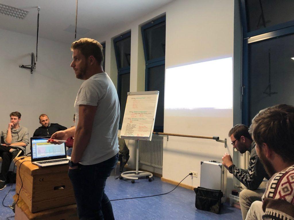 Coach Christian Harzheim präsentiert seinen Spielern den Vorbereitungsplan.